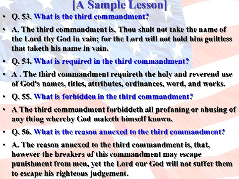 [A Sample Lesson] Q. 53. What is the third commandment
